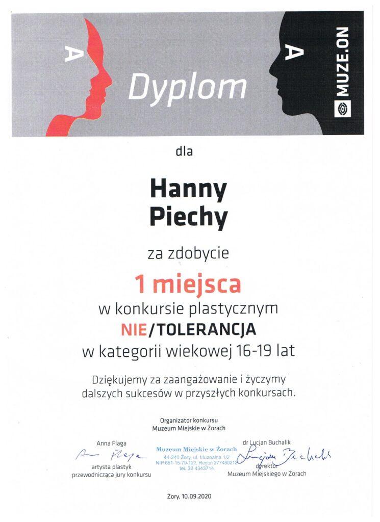 1 miejsce Hanny Piechy